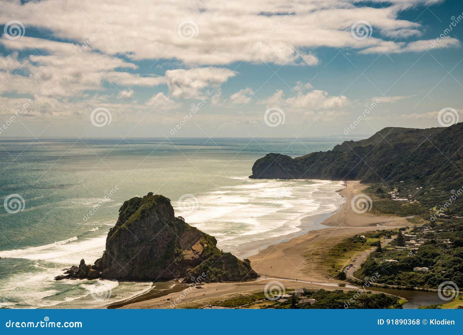 Вид с воздуха на утесе льва на пляже Piha