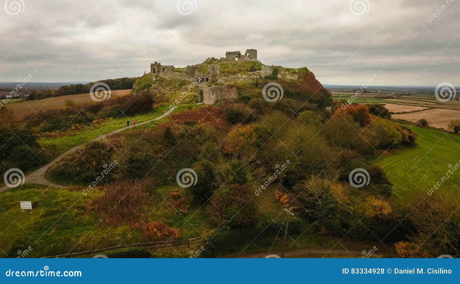 вид с воздуха Утес Dunamase Portlaoise Ирландия