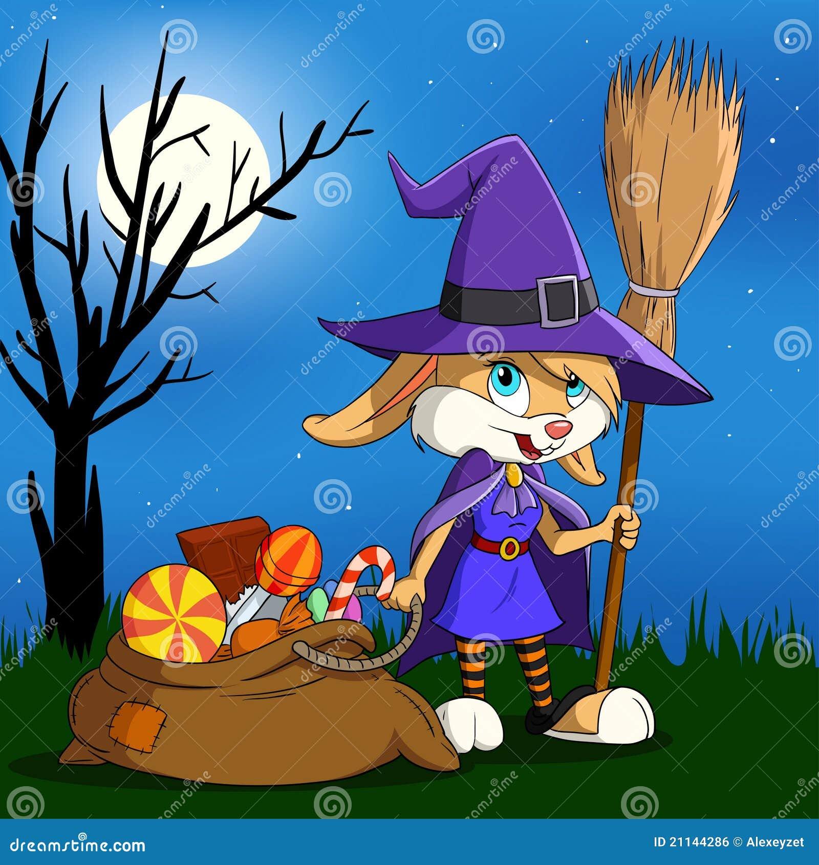 вкладыш halloween девушки шаржа конфеты зайчика