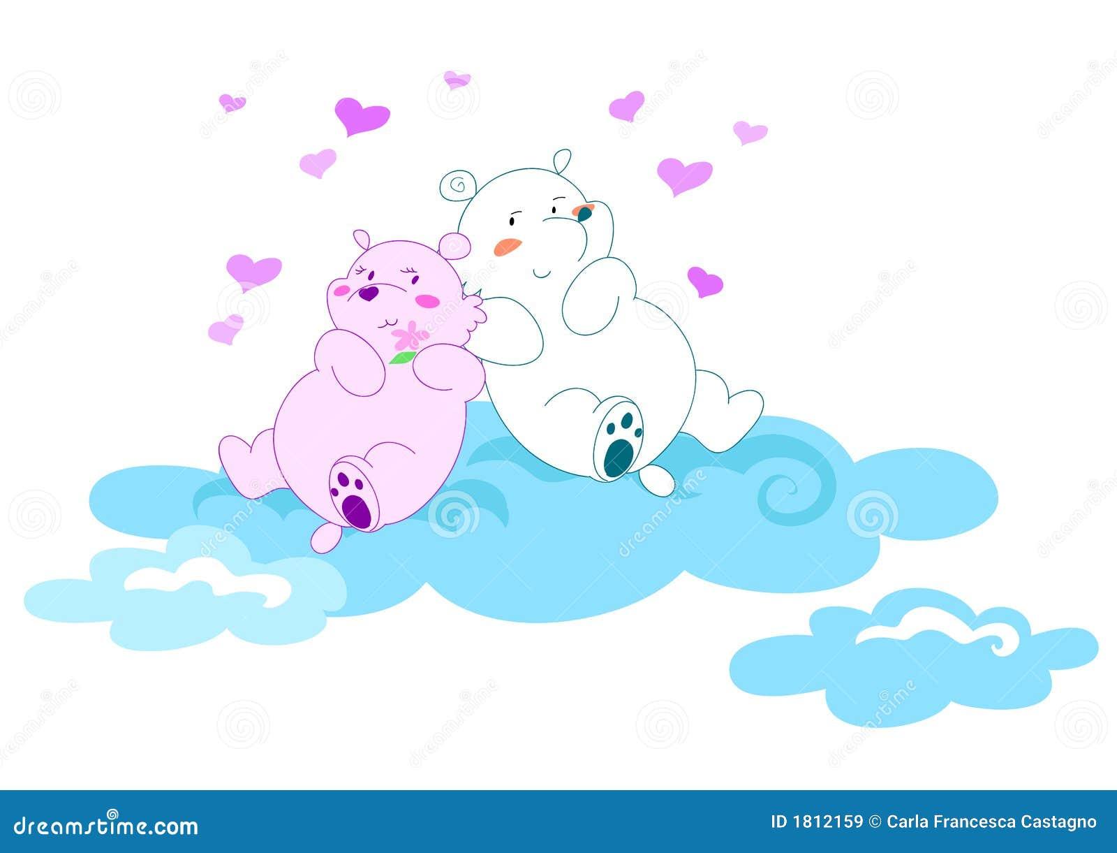 влюбленность иллюстрации 2 медведей векториальная