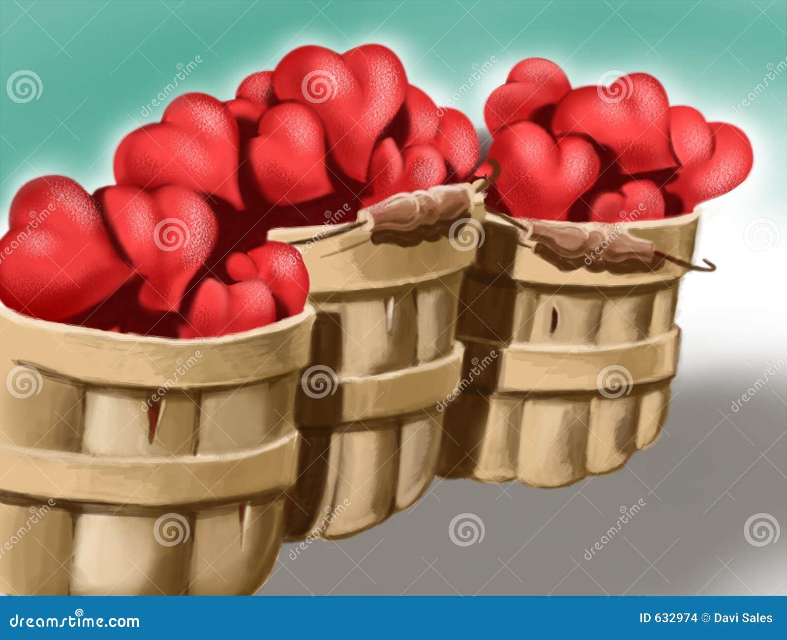Download влюбленность сердец корзин иллюстрация штока. иллюстрации насчитывающей романтично - 632974