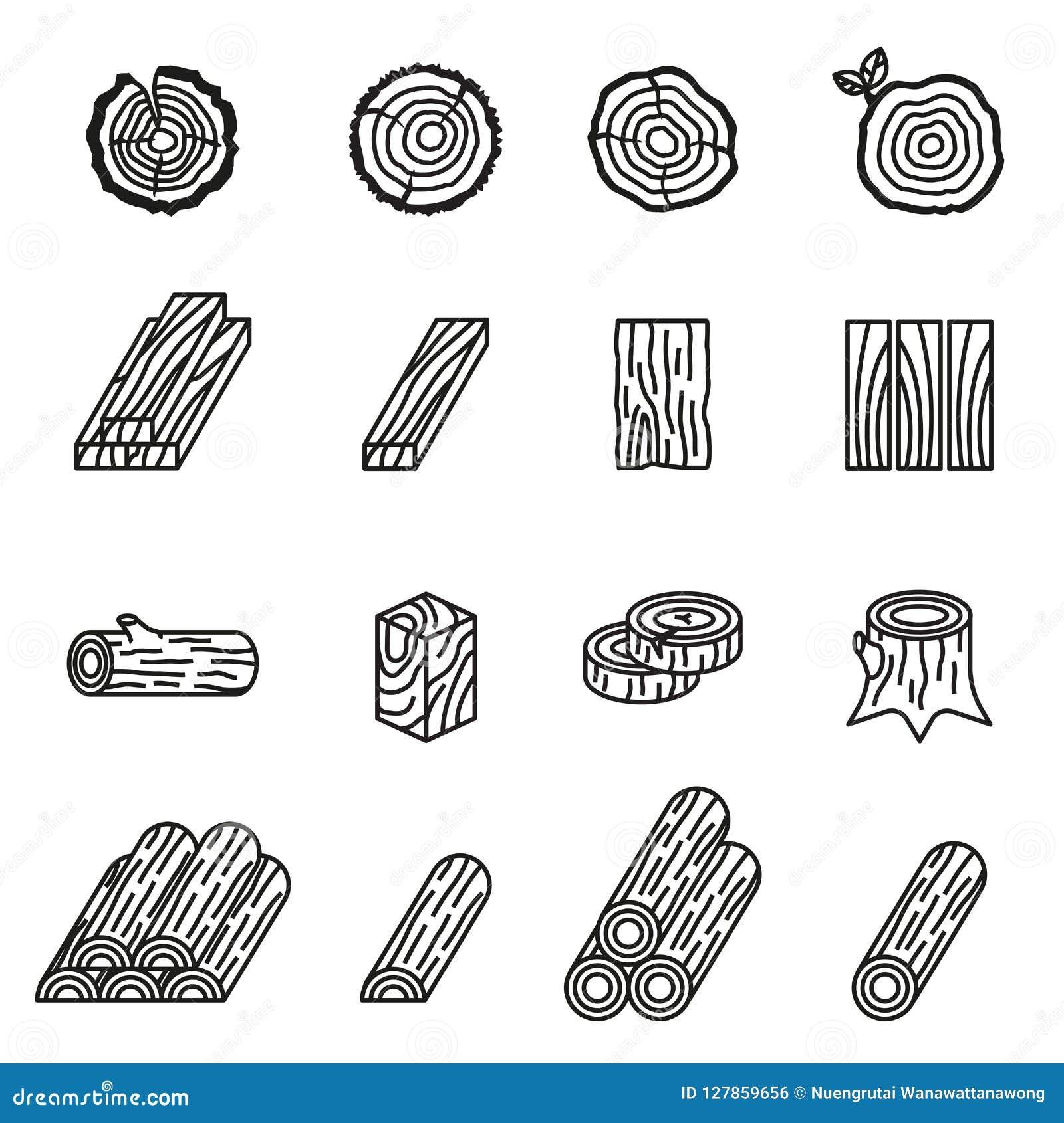 Вносить в журнал и деревянный комплект значка Тонкая линия вектор запаса стиля