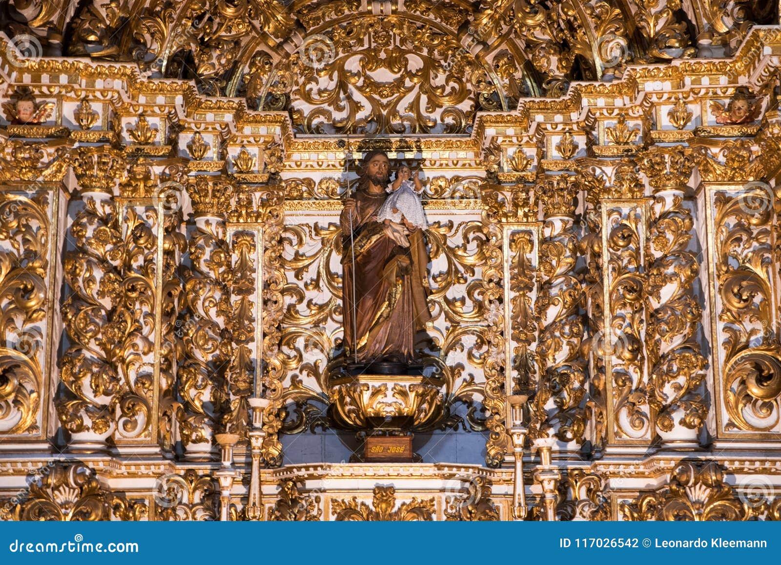 Внутреннее Igreja e Convento de São Франсиско в Бахи, Сальвадоре - Бразилии