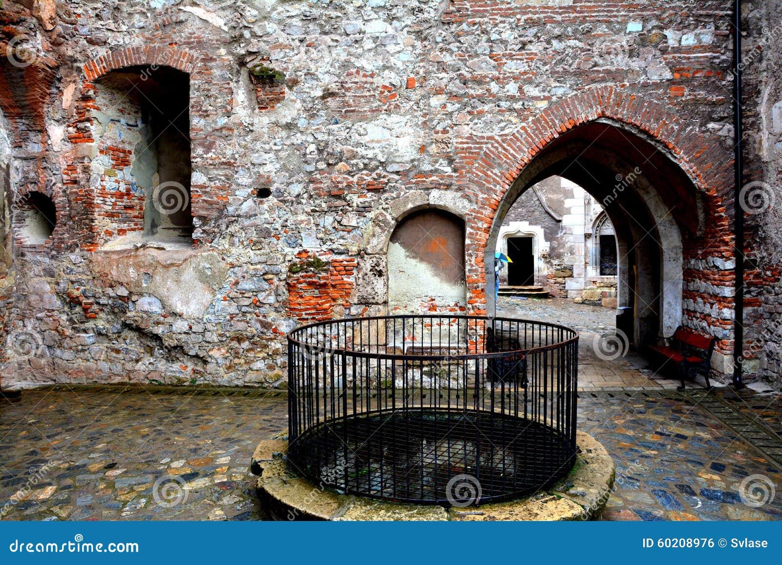 Внутренний вызванный замок Hunedoara, замком Corvin в Transilvania