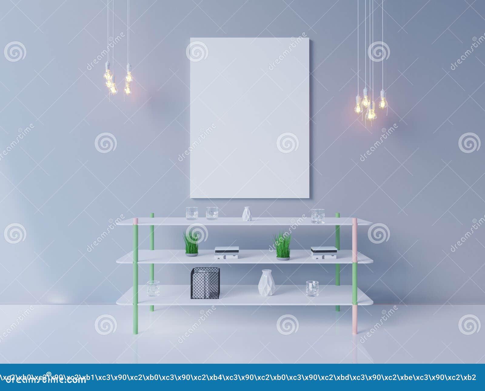 Внутренний модель-макет плаката с пустой рамкой и заводы в комнате перевод 3d иллюстрация