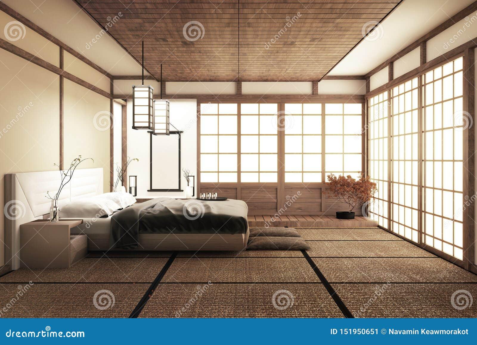 Внутренняя роскошная современная насмешка спальни японского стиля вверх, конструирующ самое красивое r