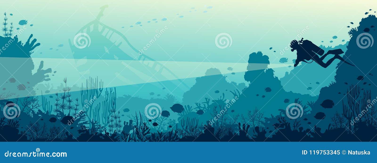 Водолаз акваланга, подводная развалина, коралловый риф, море