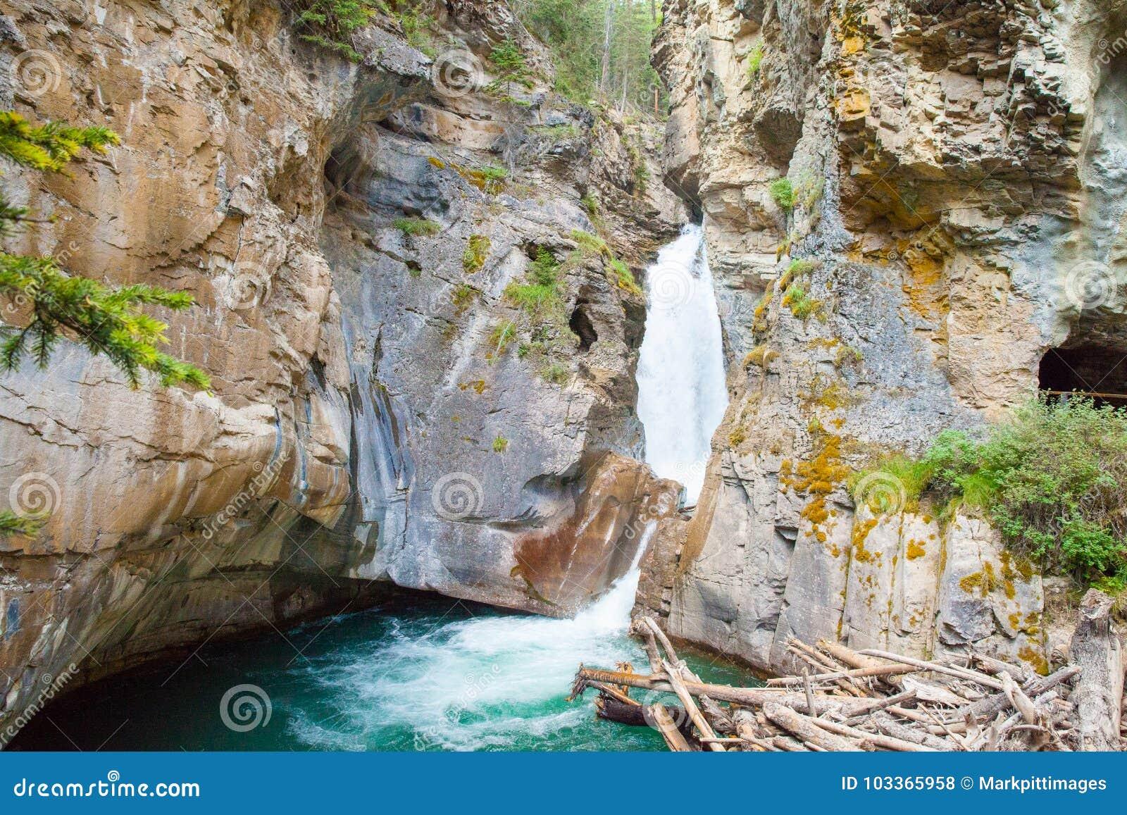 Водопад в национальном парке banff каньона johnston