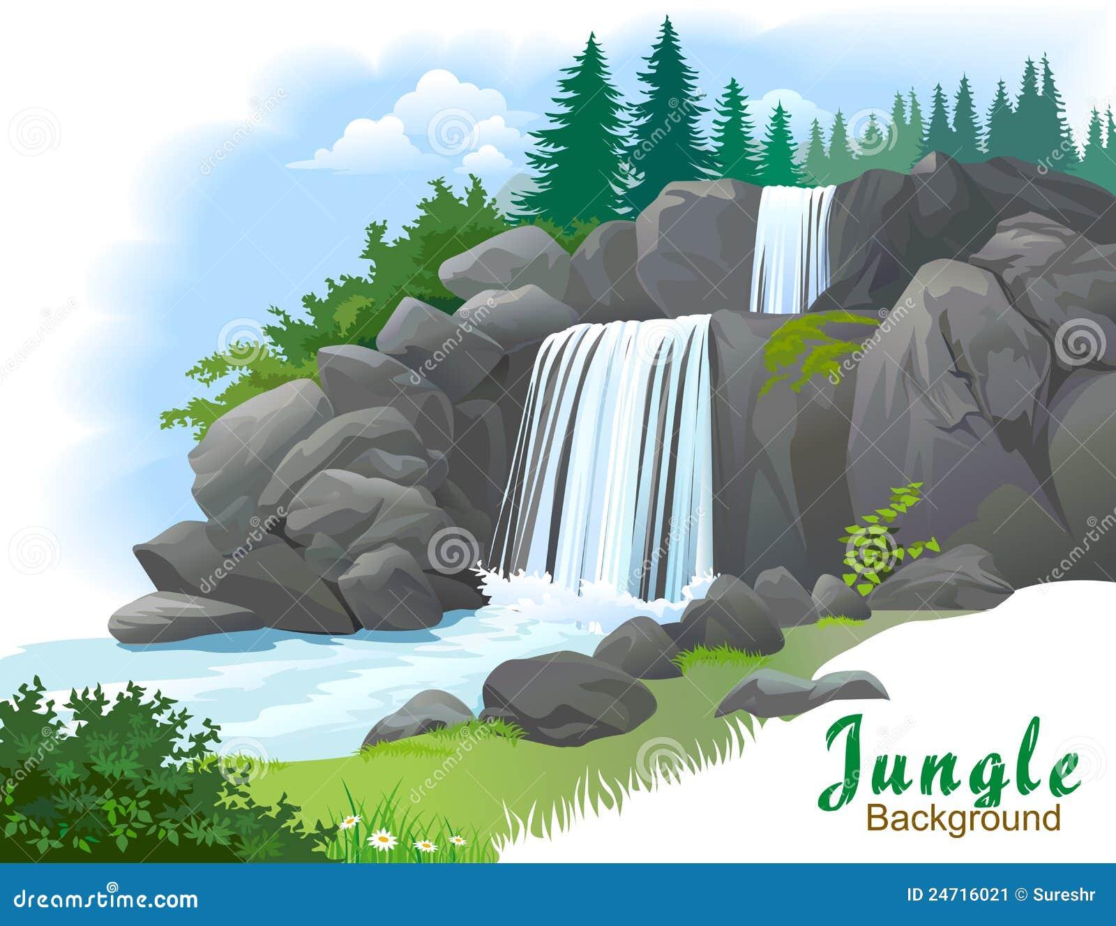 водопад джунглей