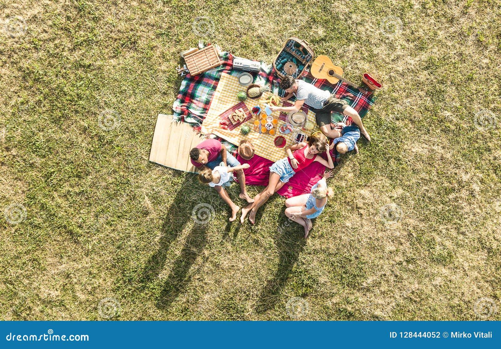 Воздушный взгляд трутня счастливых семей имея потеху с детьми на пикнике