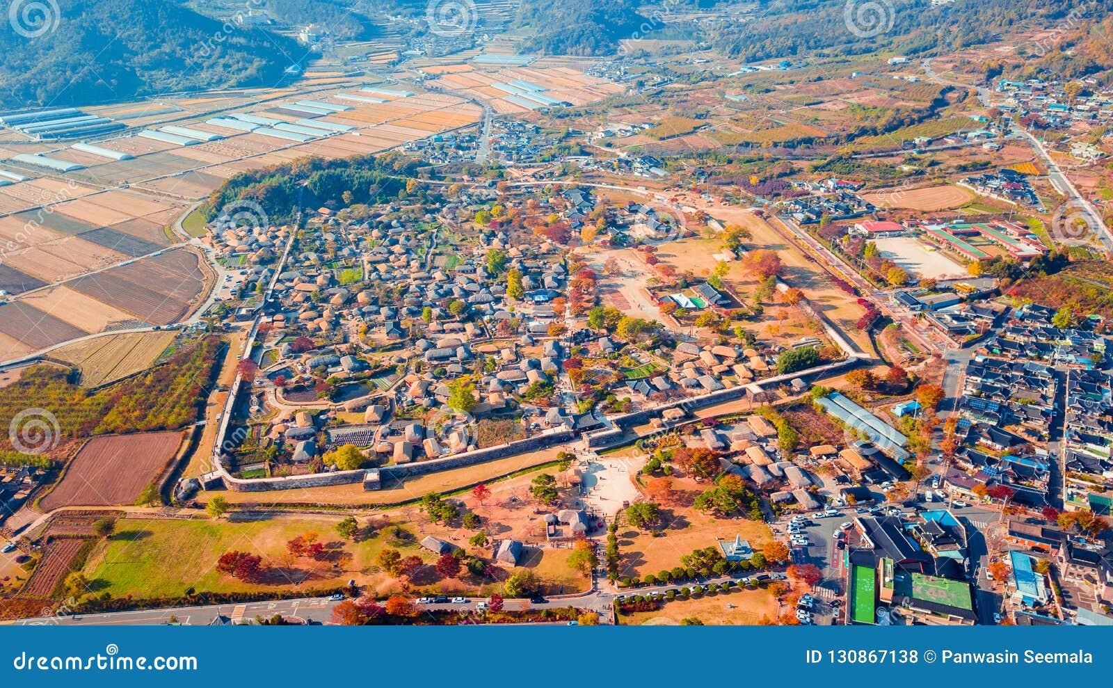Воздушный ландшафт деревни hanok в Чонджу, Южной Корее