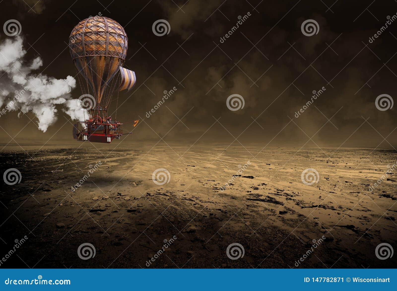 Воздушный шар Steampunk горячий, сюрреалистический дирижабль, год сбора винограда