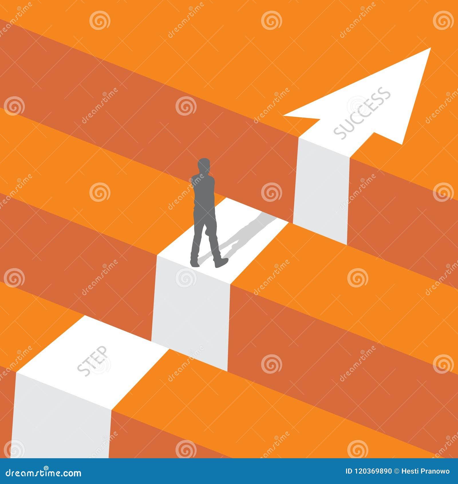 Возможность дела или концепция вектора препятствия с положением бизнесмена