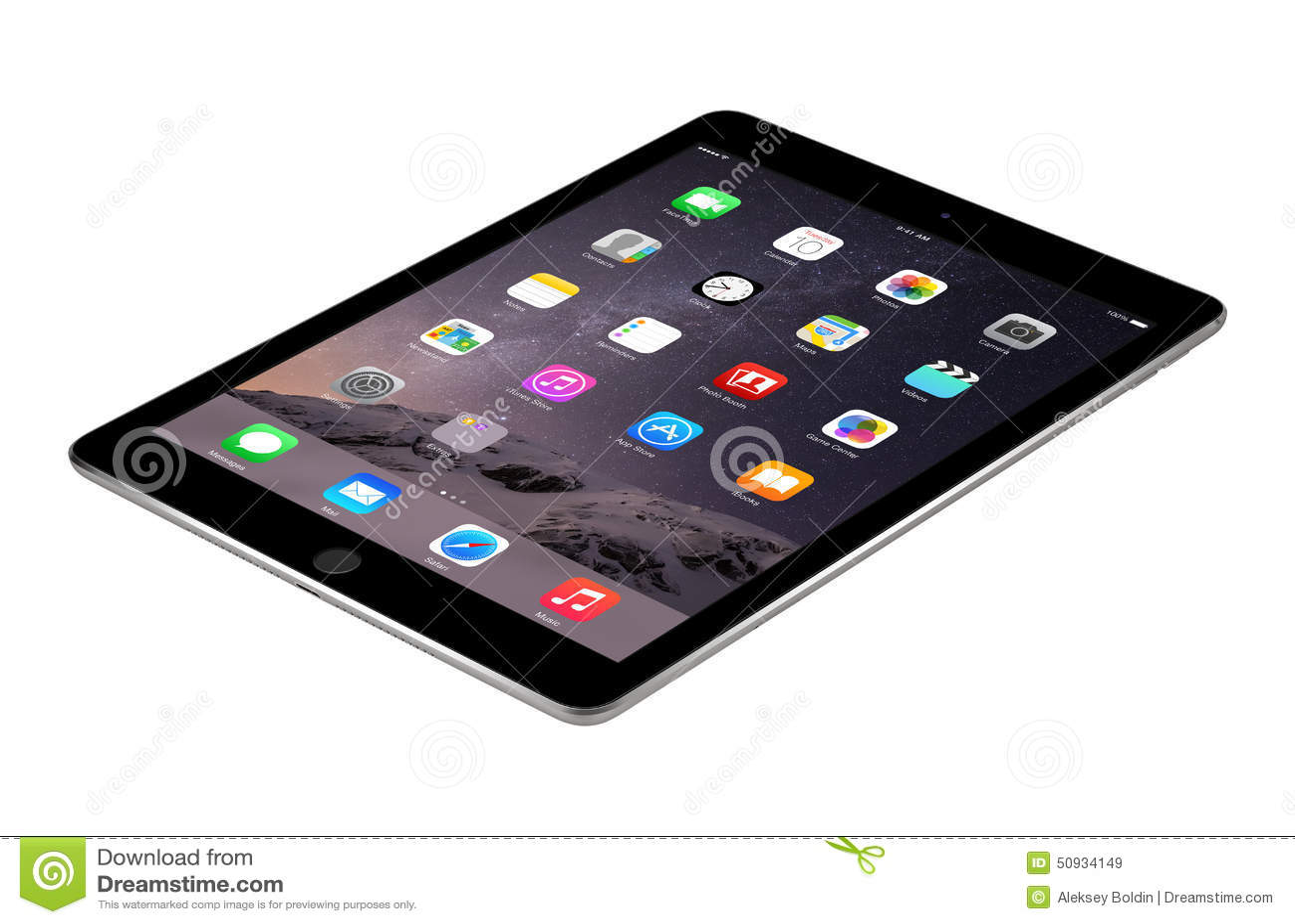 Воздух 2 iPad космоса Яблока серый с iOS 8 лежит на поверхности, desi