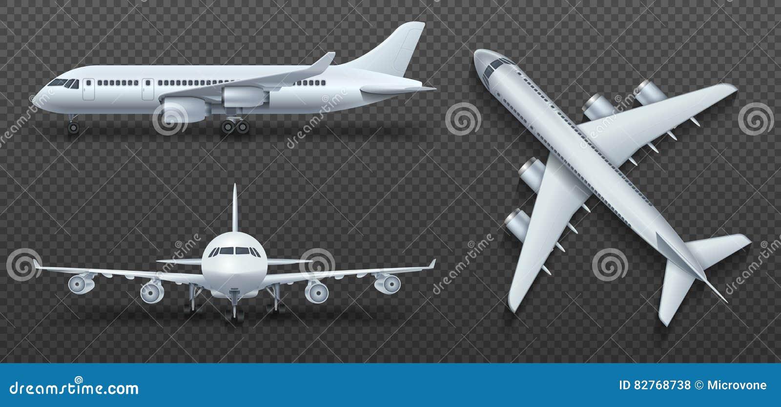 Воздушные судн, самолет, авиалайнер в различном комплекте вектора точки зрения