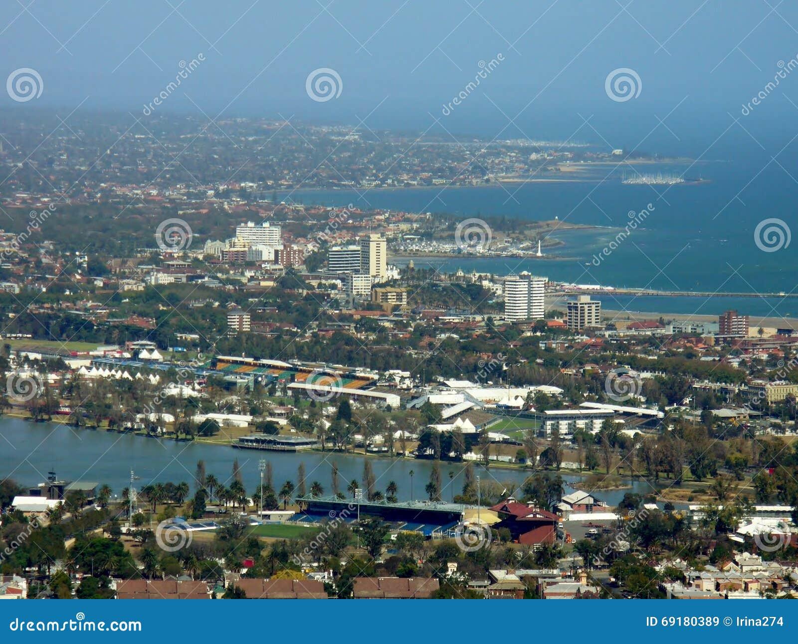 воздушный взгляд небоскребов множества Австралии melbourne