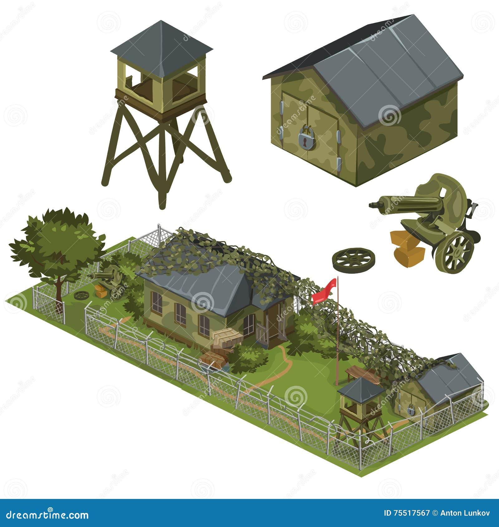 Воинские гарнизон, гараж, башня и пулемет