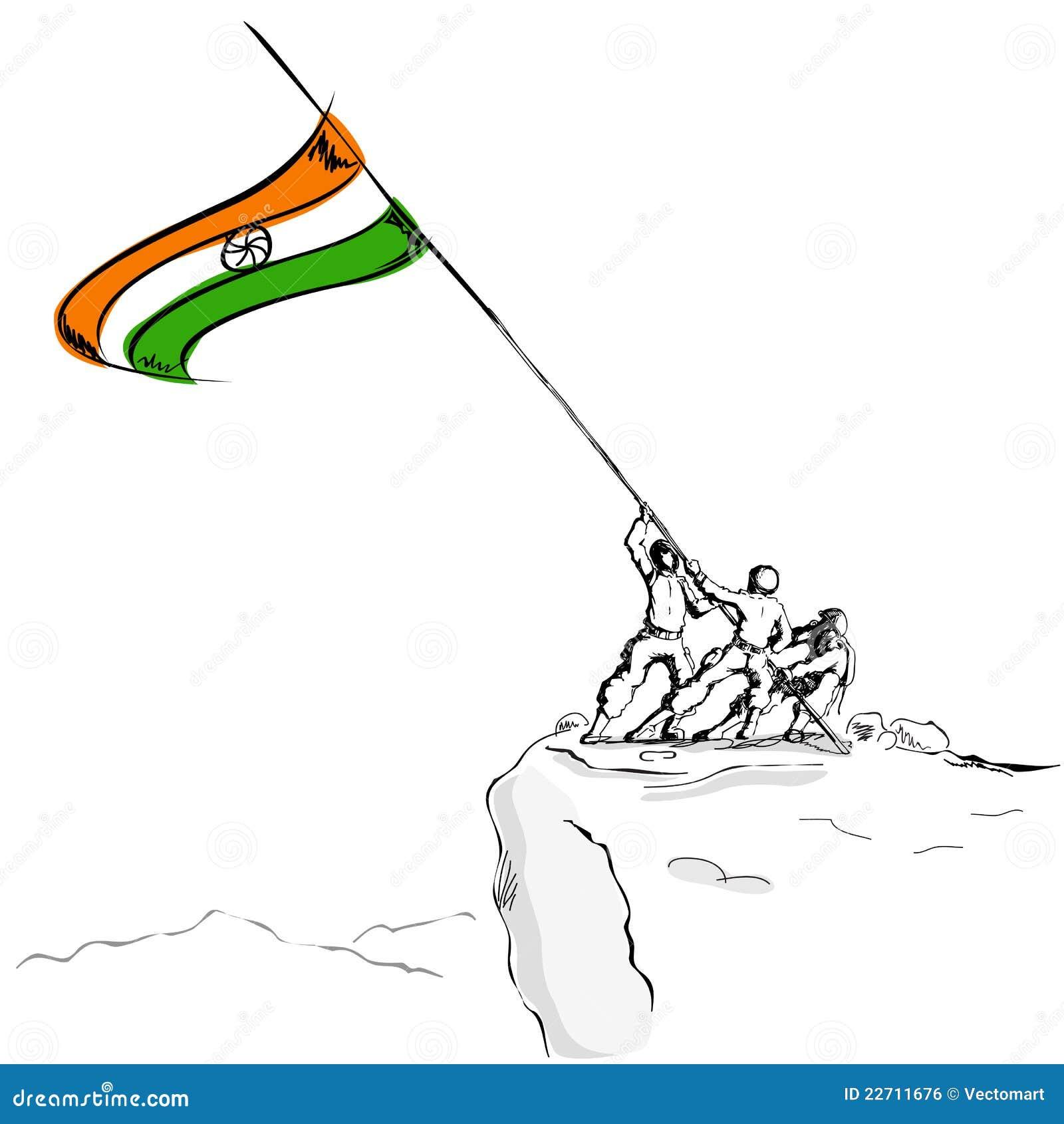 воин флага индийский поднимая