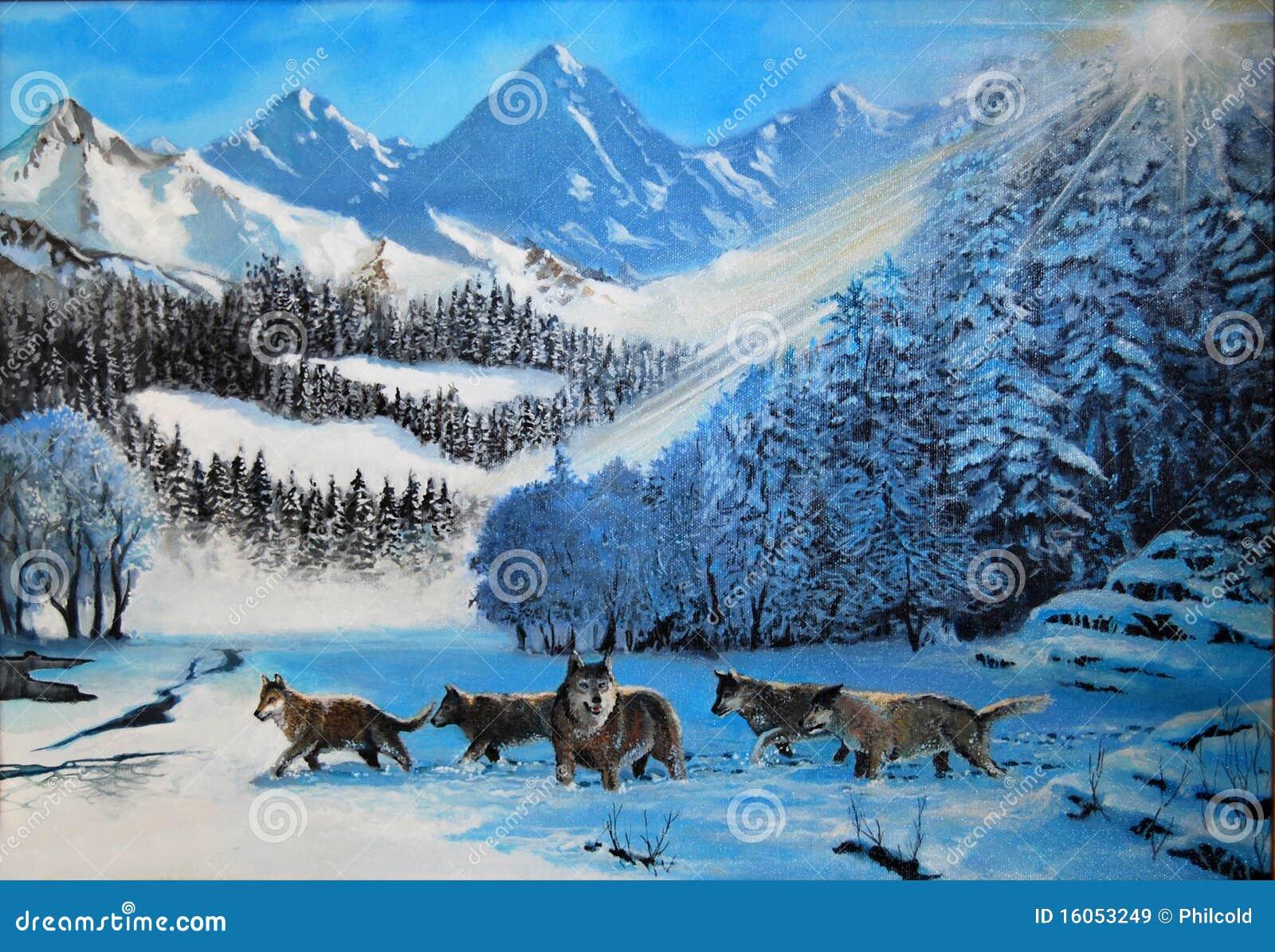 волки снежка
