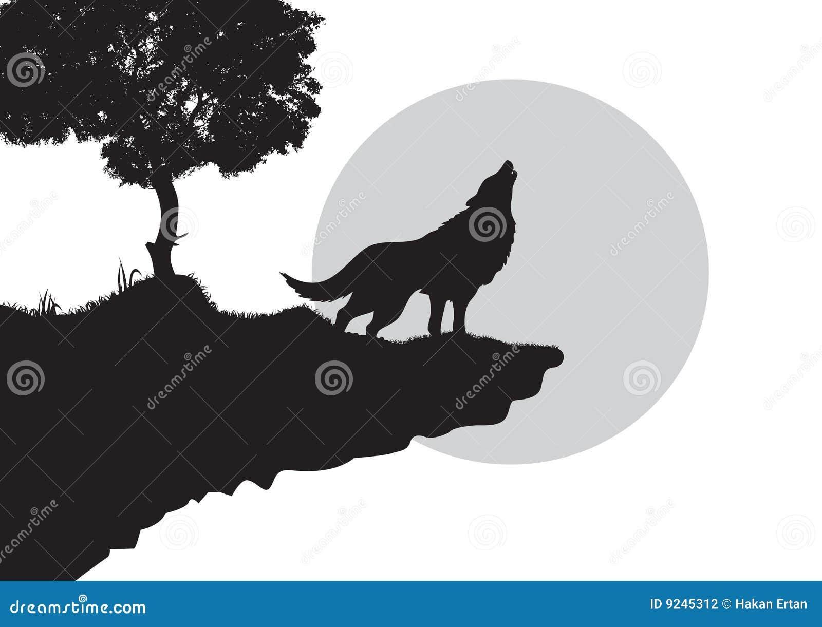 волк силуэта завывать