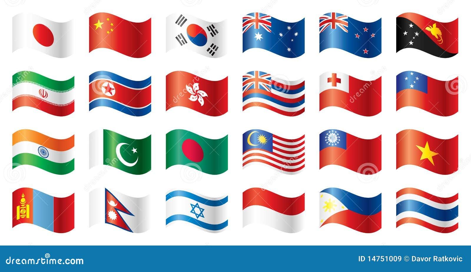 волнистое oceania флагов Азии установленное