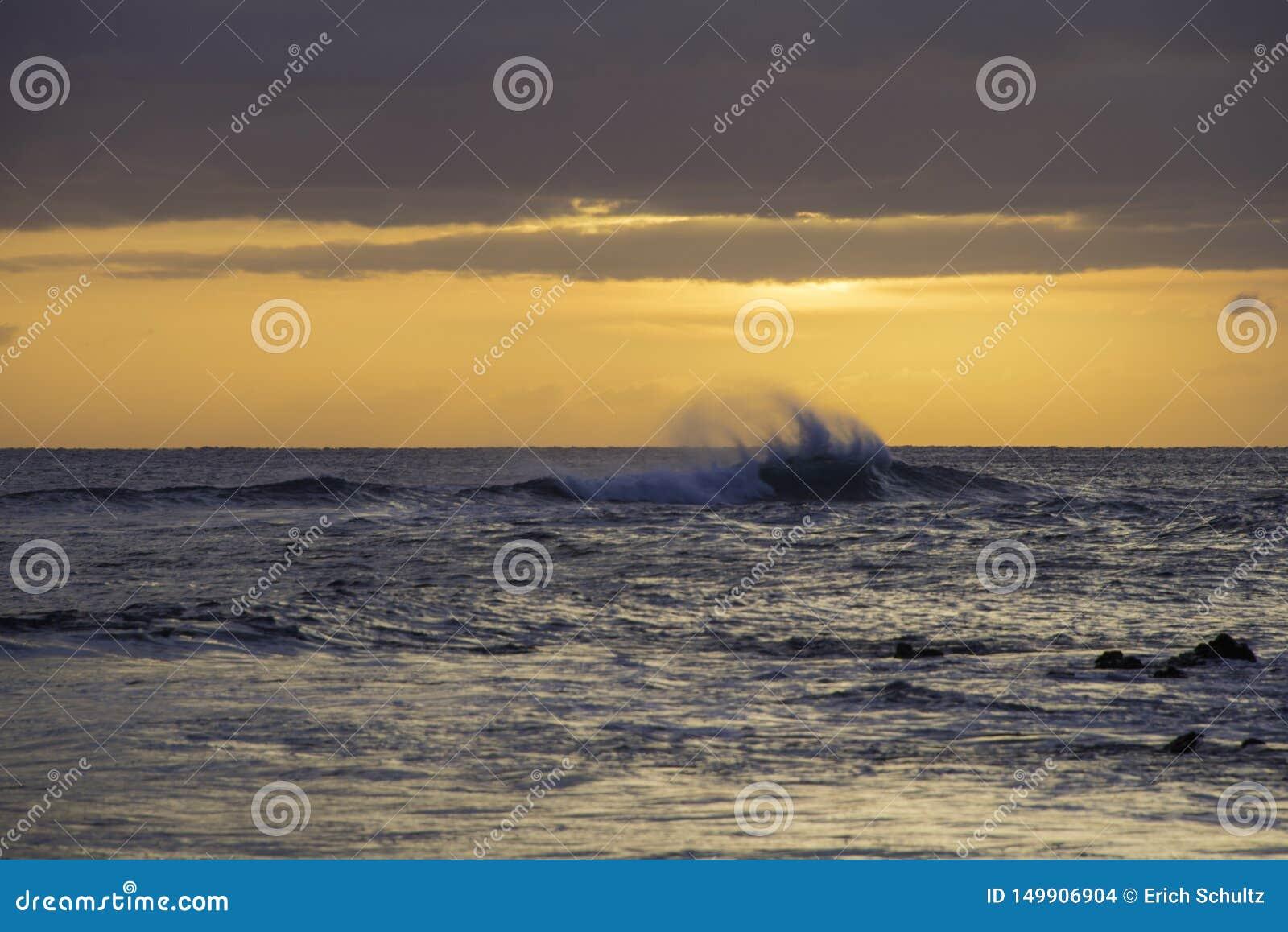 Волны выходя из атаки остров Мауи