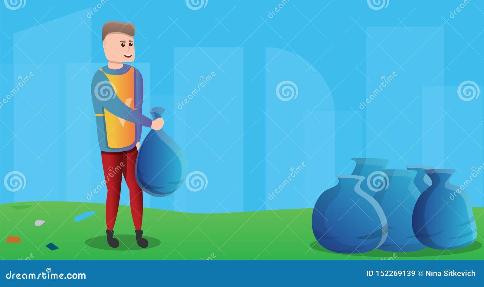 Волонтер собирает знамя концепции сумок отброса, стиль мультфильма