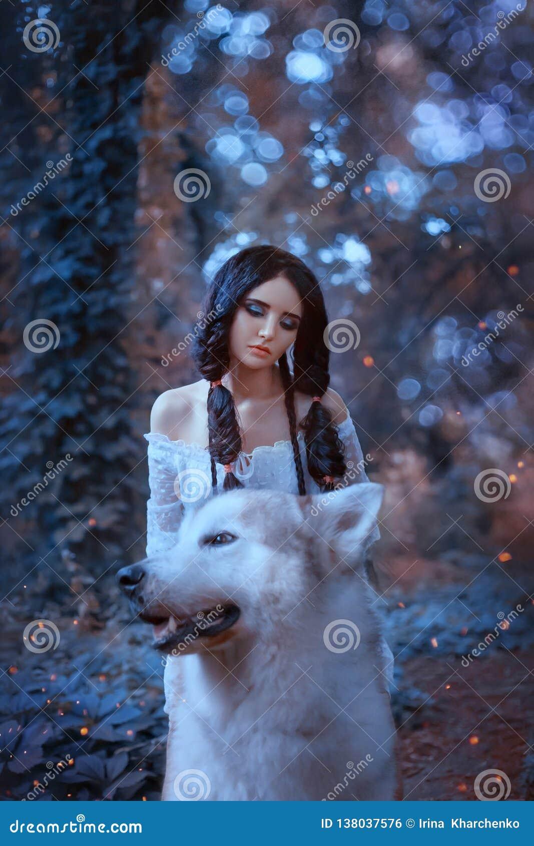 Волшебная фея седлает гордого волка леса и едет он, хищник принимает принцессу к ее логову, встречу эльфа новую