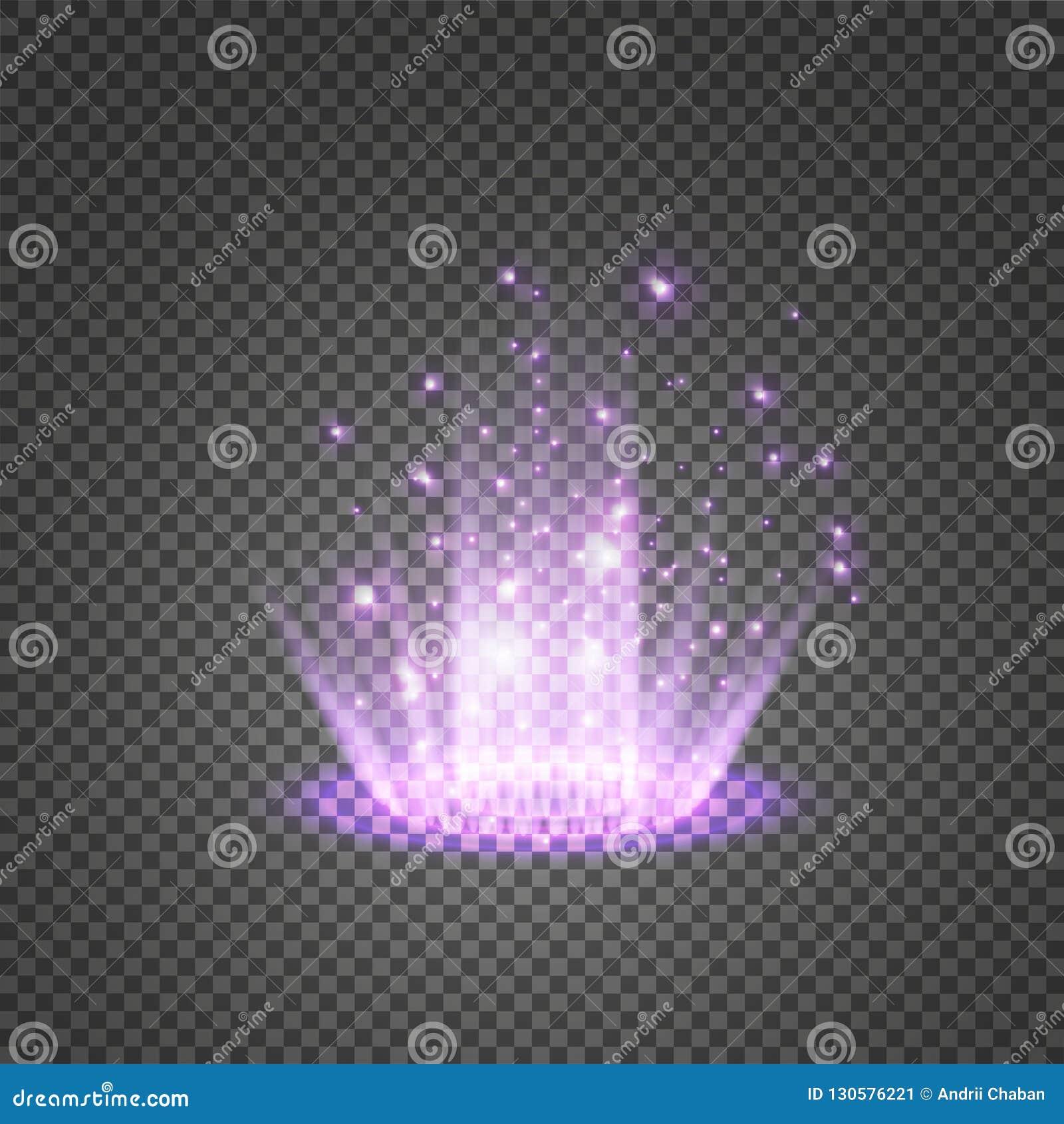 Волшебный портал фантазии Футуристический teleport Световой эффект Голубые свечи лучей сцены ночи с искрами на прозрачном