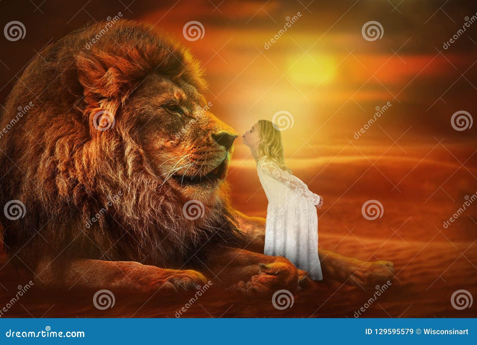 лев и девушка картинки