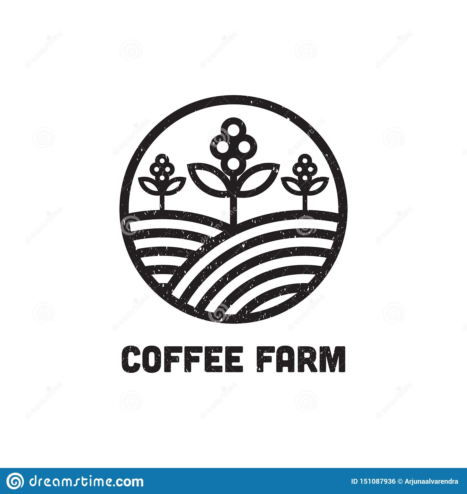 Воодушевленность дизайна логотипа фермы кофе, может используемый шаблон логотипа кафа и бара