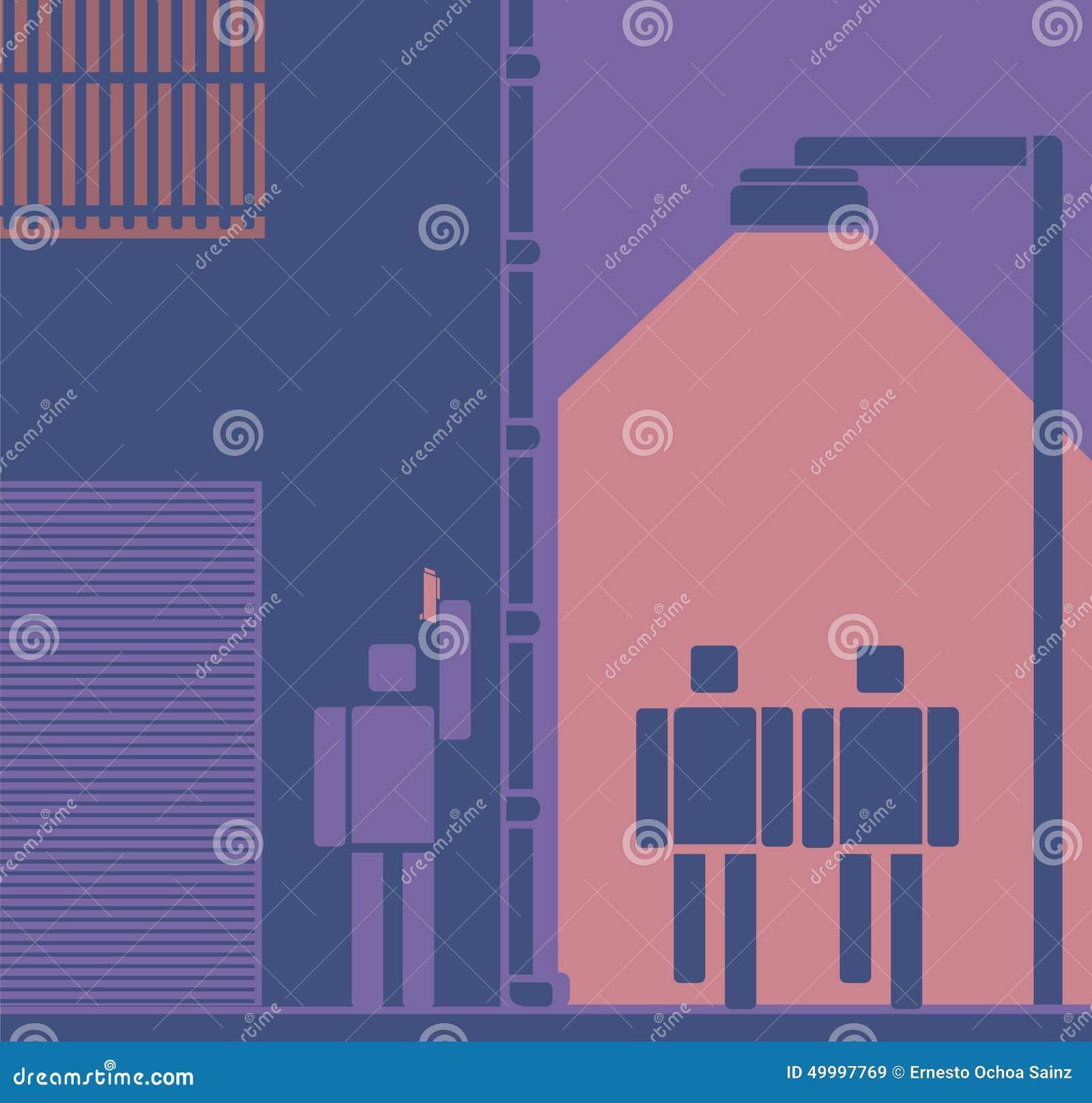 Вооруженные убийца или разбойник ждать для того чтобы заманивать людей Пиктограмма/плоский стиль дизайна