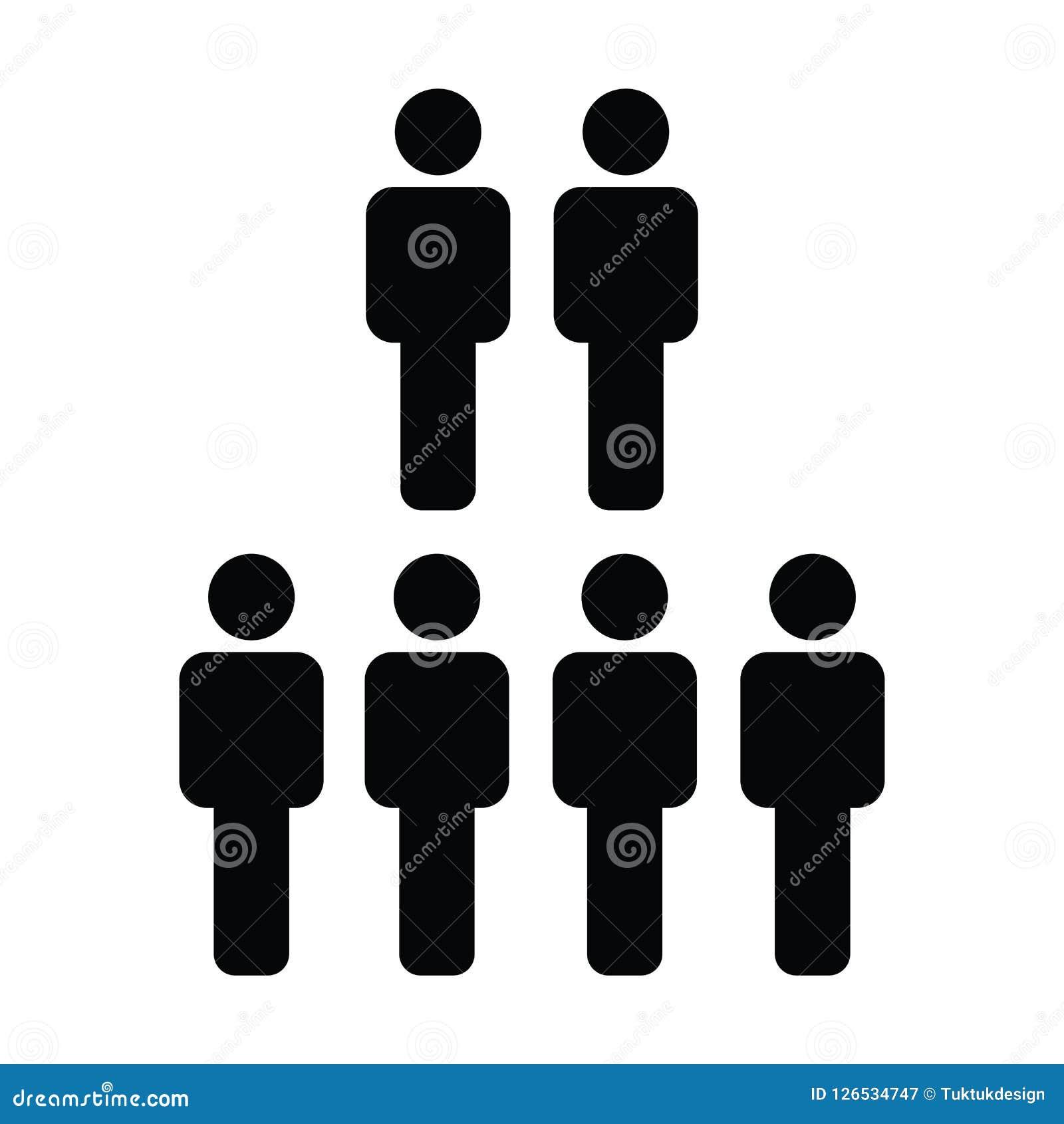 Воплощение символа группы людей вектора значка человеческих ресурсов мужское для руководящей группы руководства бизнесом в плоско