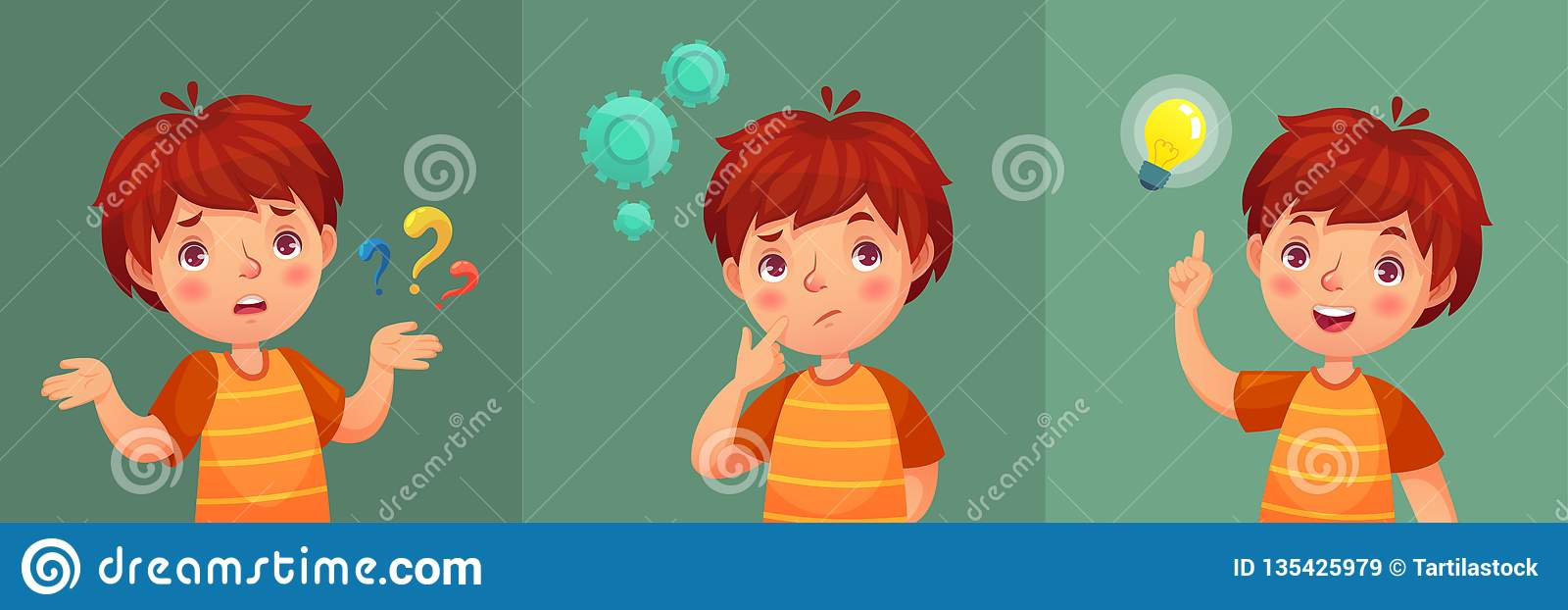 Вопрос о ребенка Внимательный молодой мальчик спрашивает вопрос, смущенный ребенк и понимает или нашел портрет вектора мультфильм