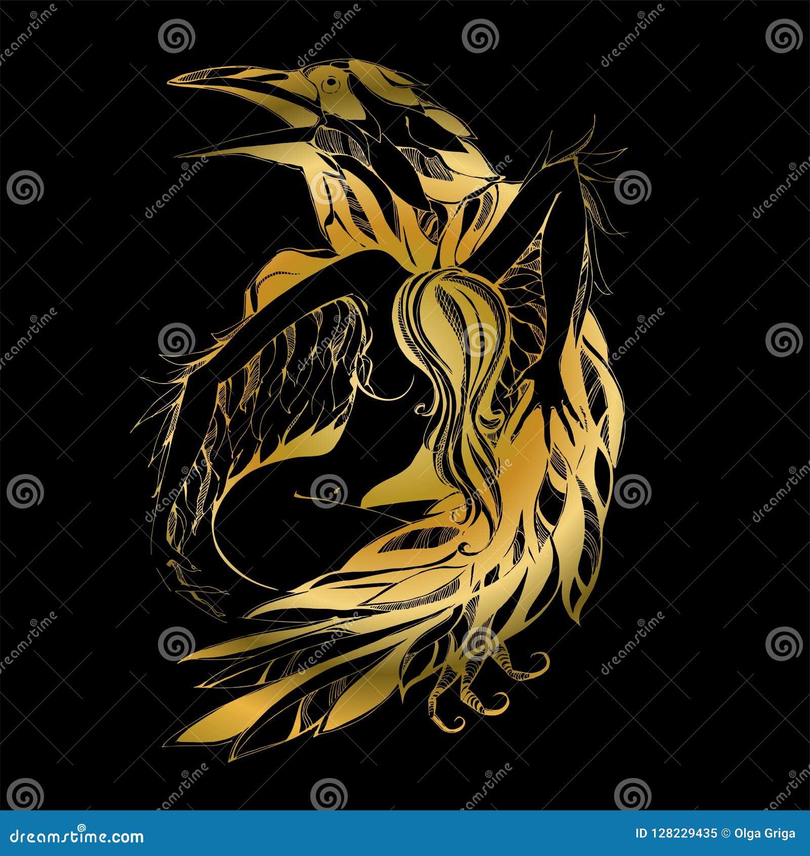 Ворон и ангел графики Золото защитник Покровитель вектора