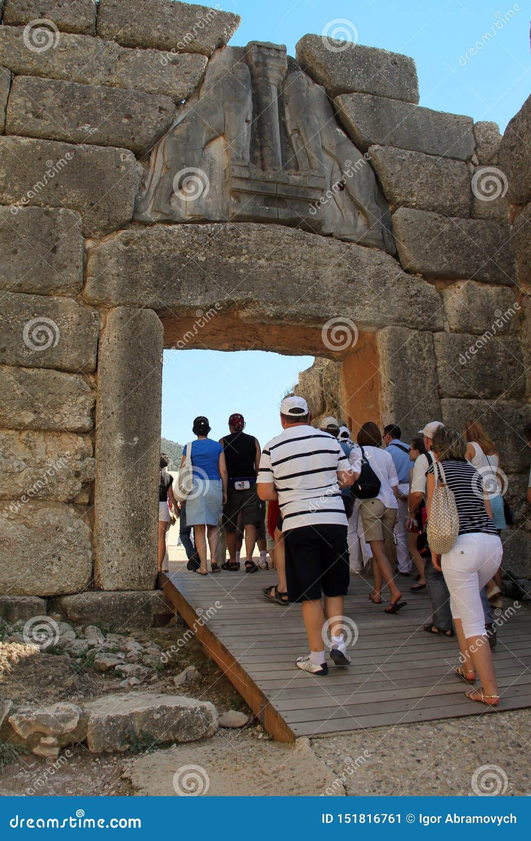 Ворота льва в Mycenae, Греции