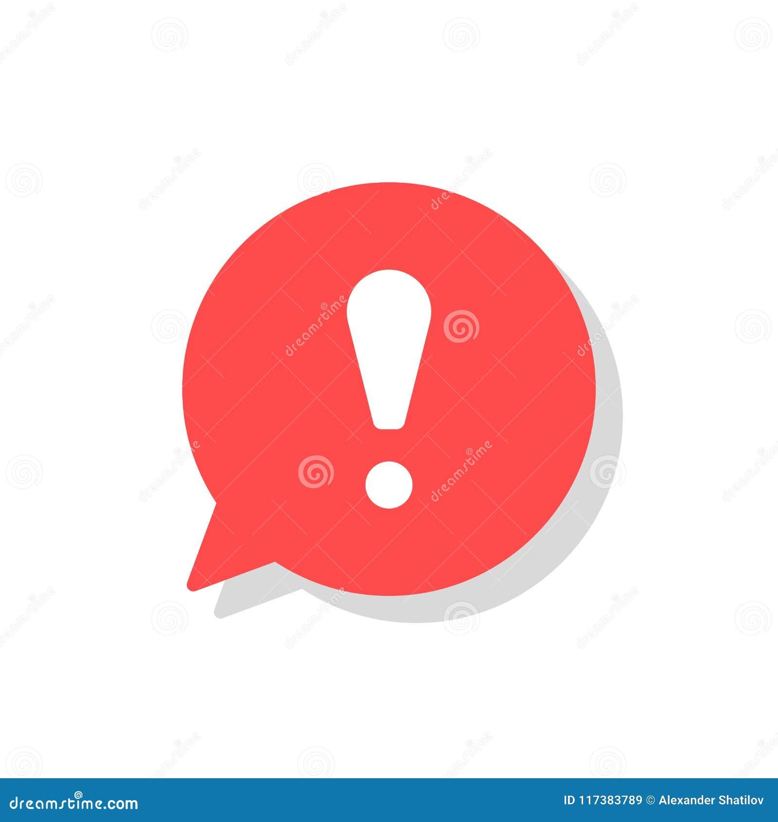 Восклицательный знак в значке вектора речи пузыря внимание или предупредительный знак os концепции Данные по опасности или данные
