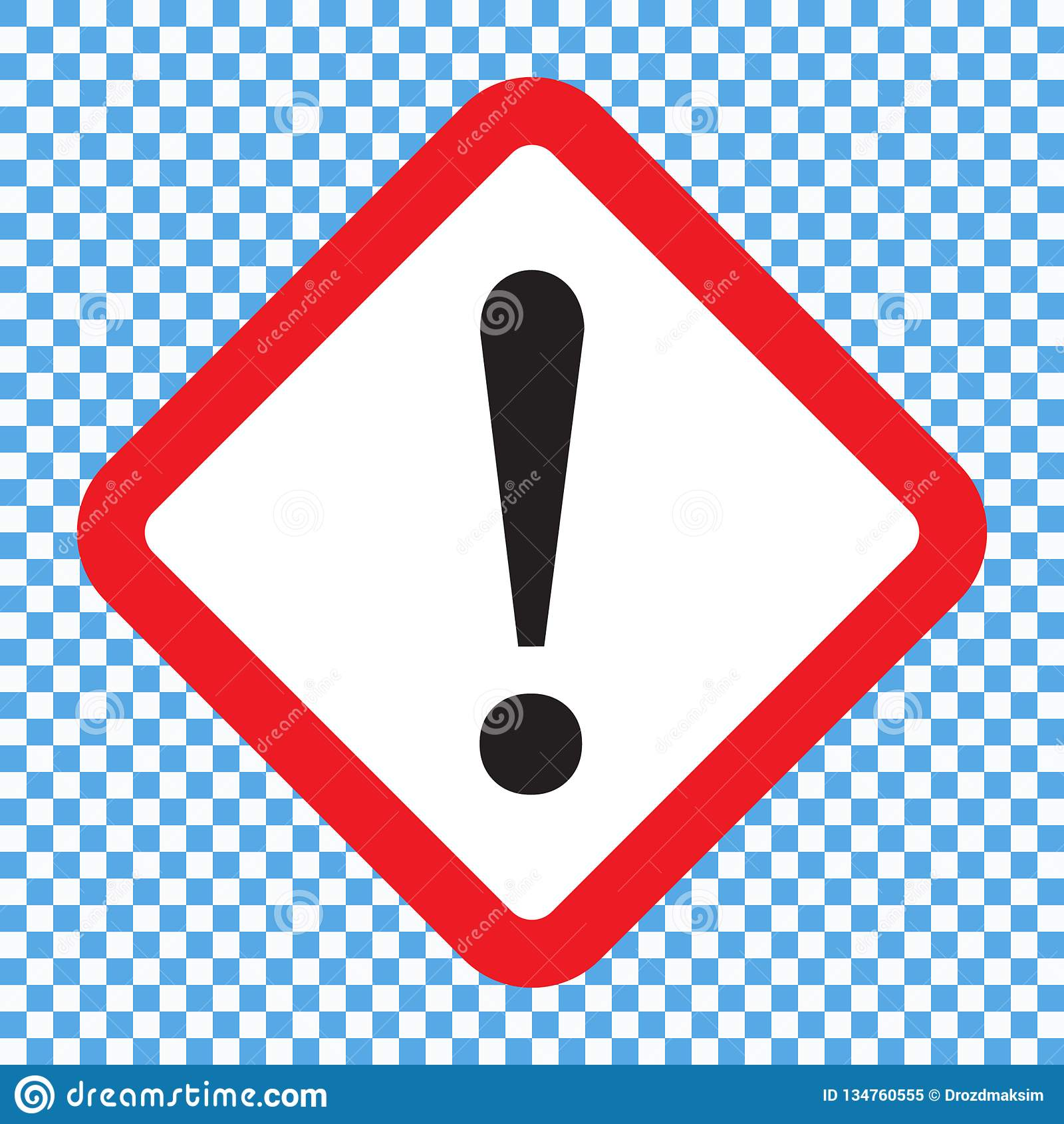 Восклицательный знак, символ квадратной опасности предупреждающий, значок вектора