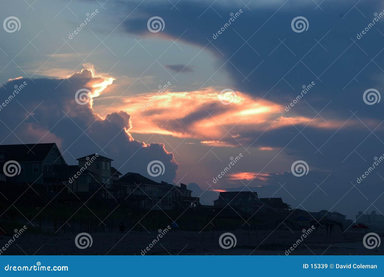 восход солнца Емералд Исле пляжа