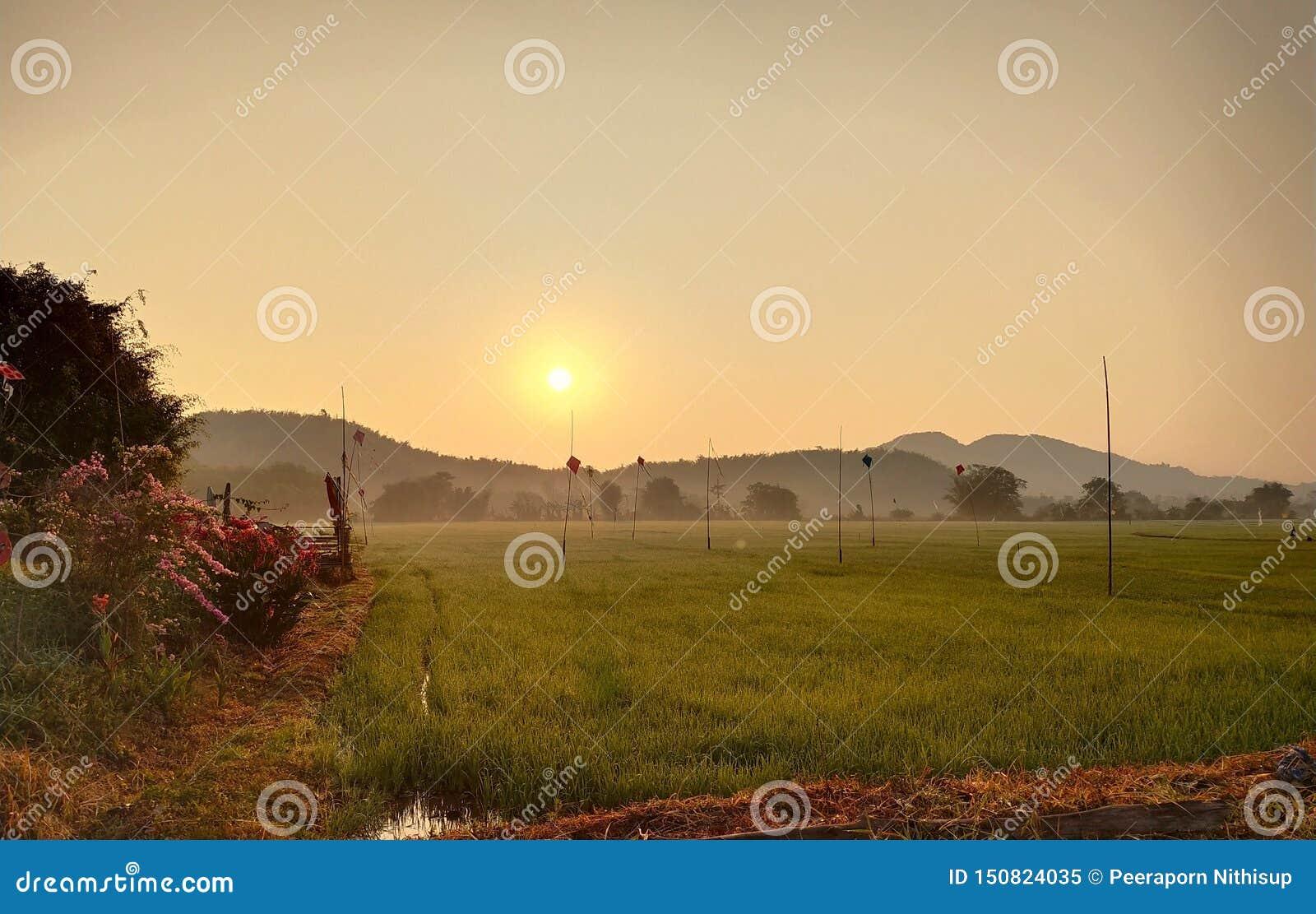 Восход солнца и обширные поля