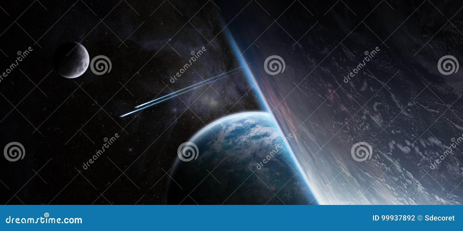 Восход солнца над дистантной системой планеты в элементе перевода космоса 3D