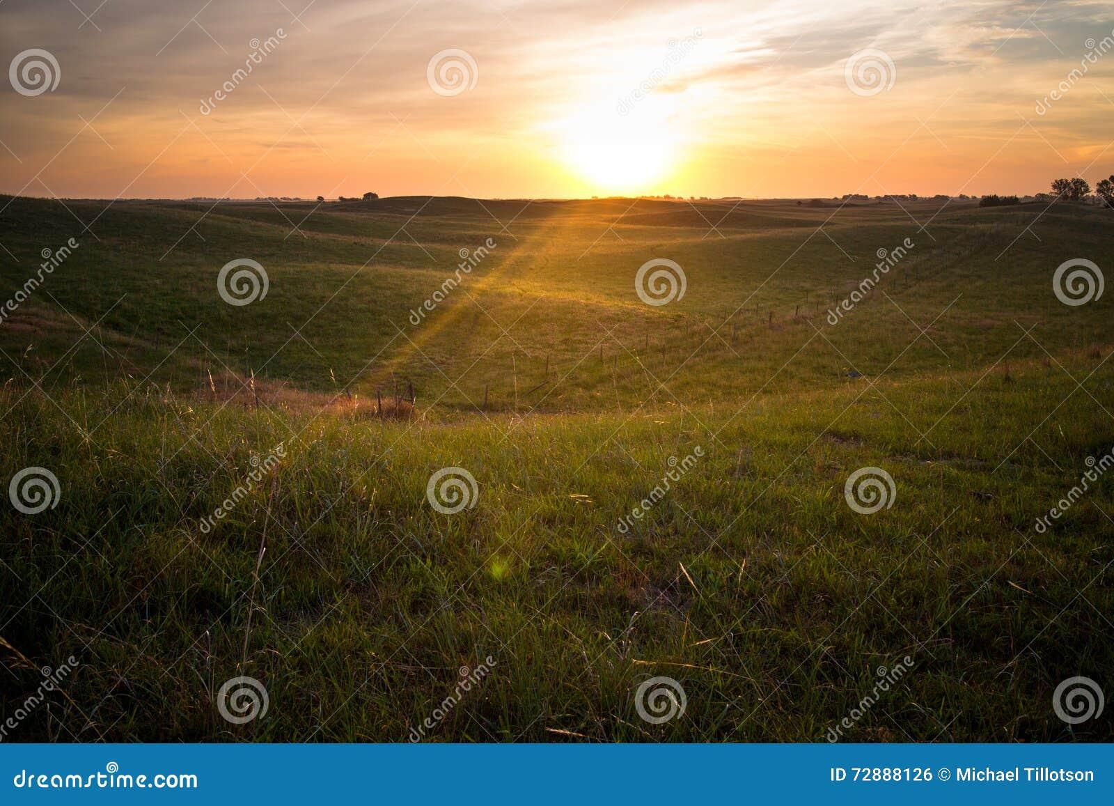 Восход солнца в Небраске Sandhills