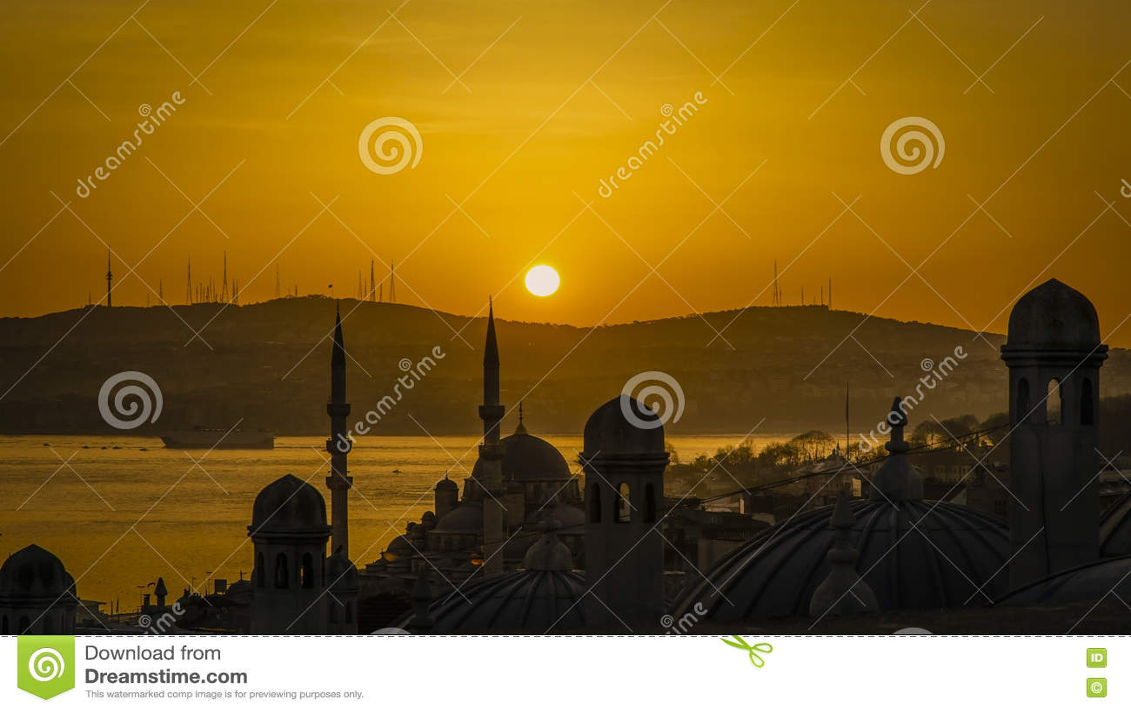 Восход солнца города Турции, Стамбула