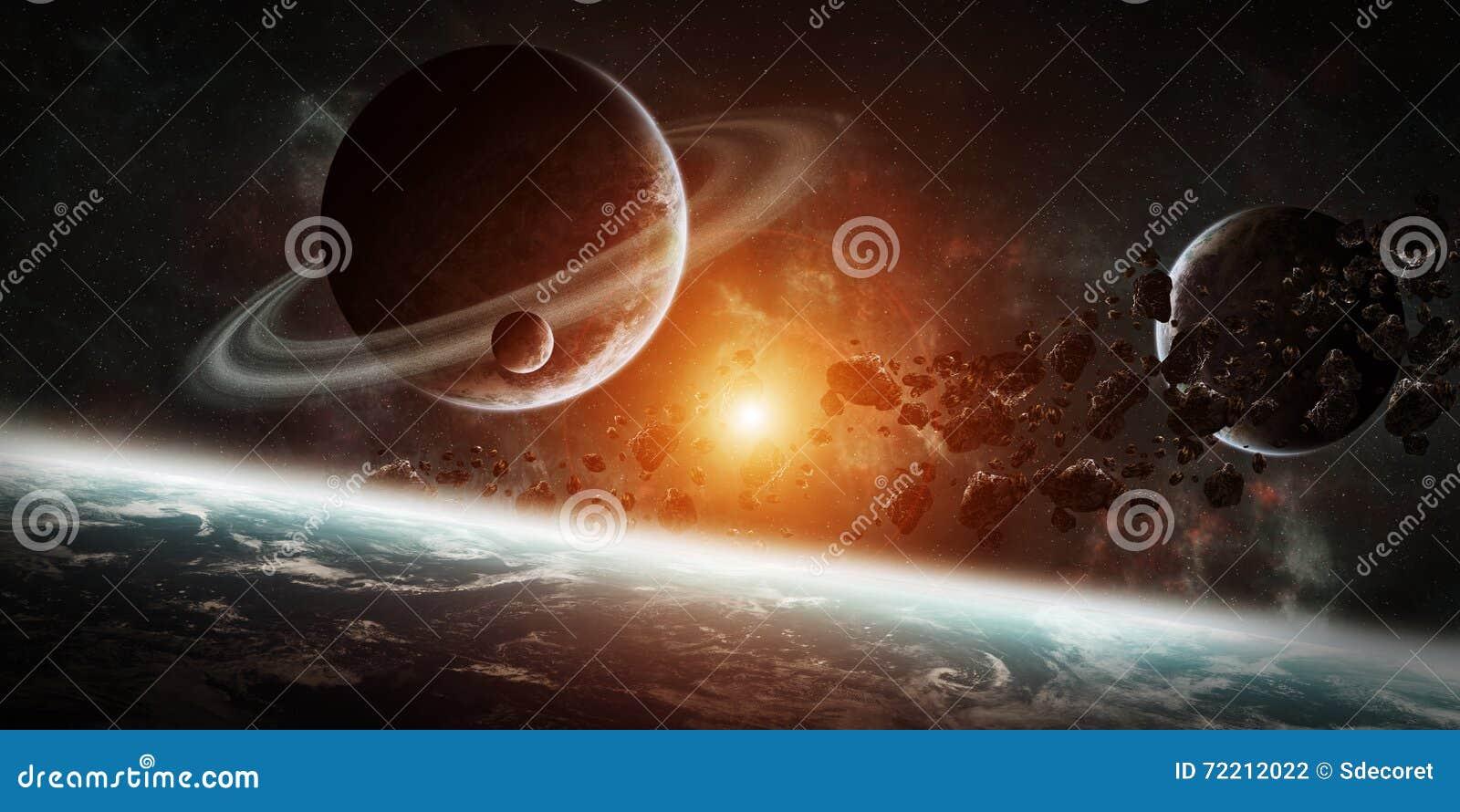Восход солнца над группой в составе планеты в космосе