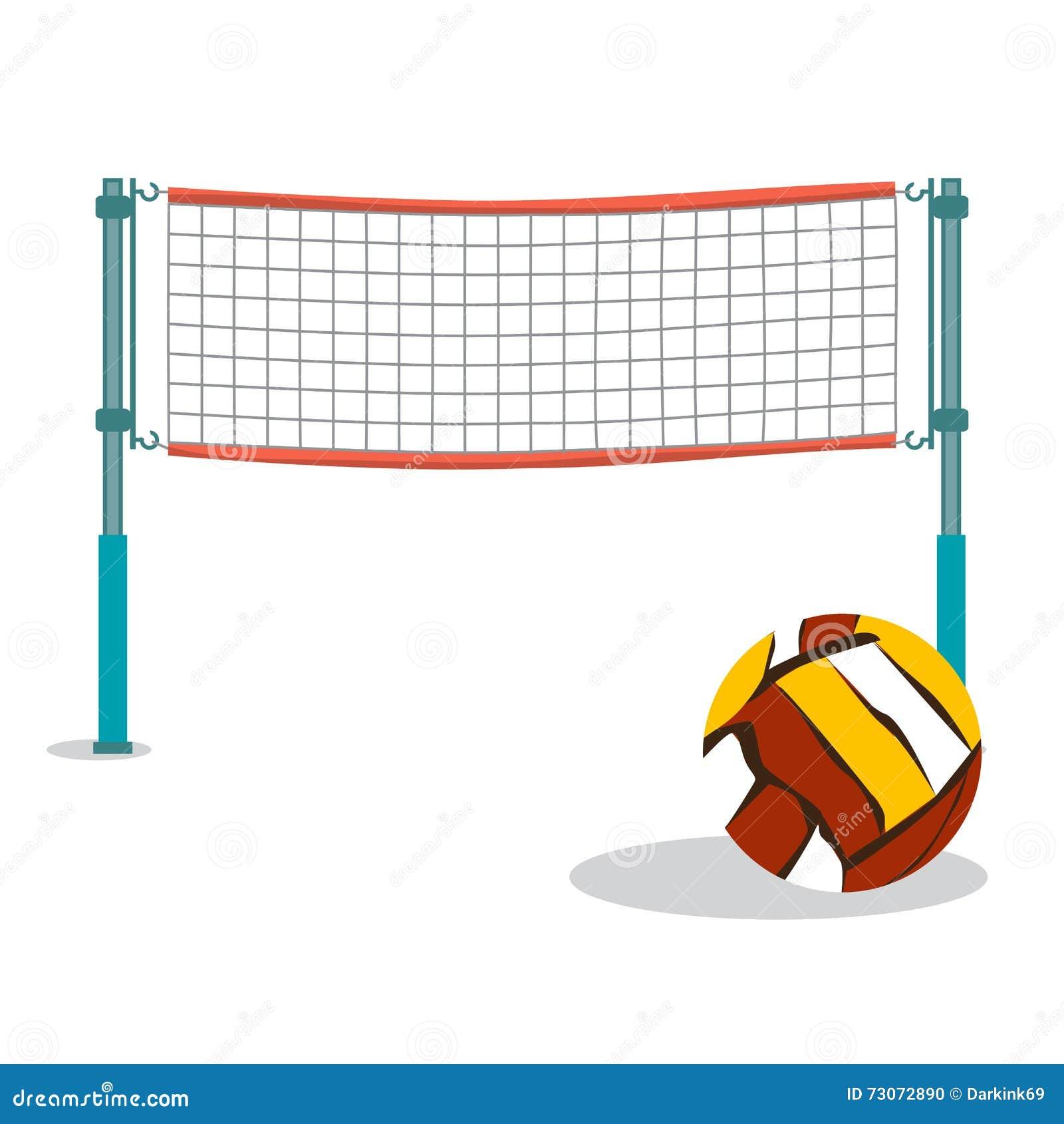Волейбол пляжа и сетчатый плоский шарж vector иллюстрация