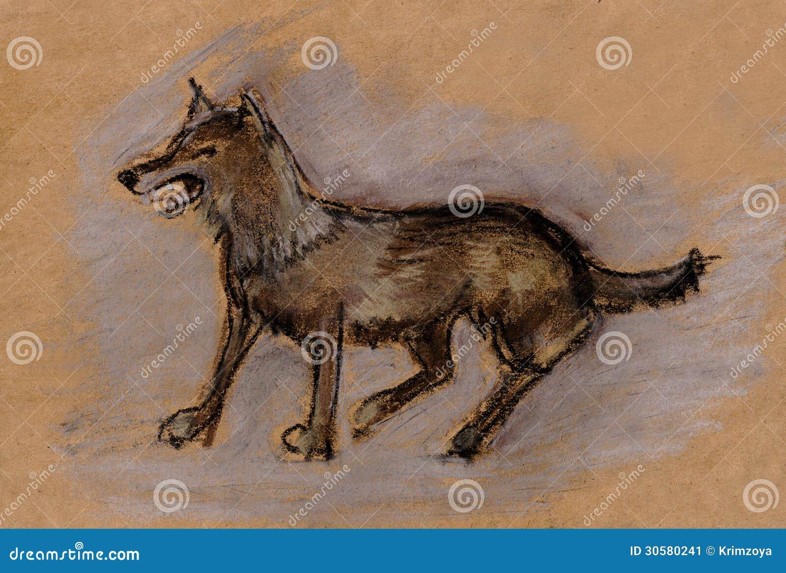 Волк степи красный