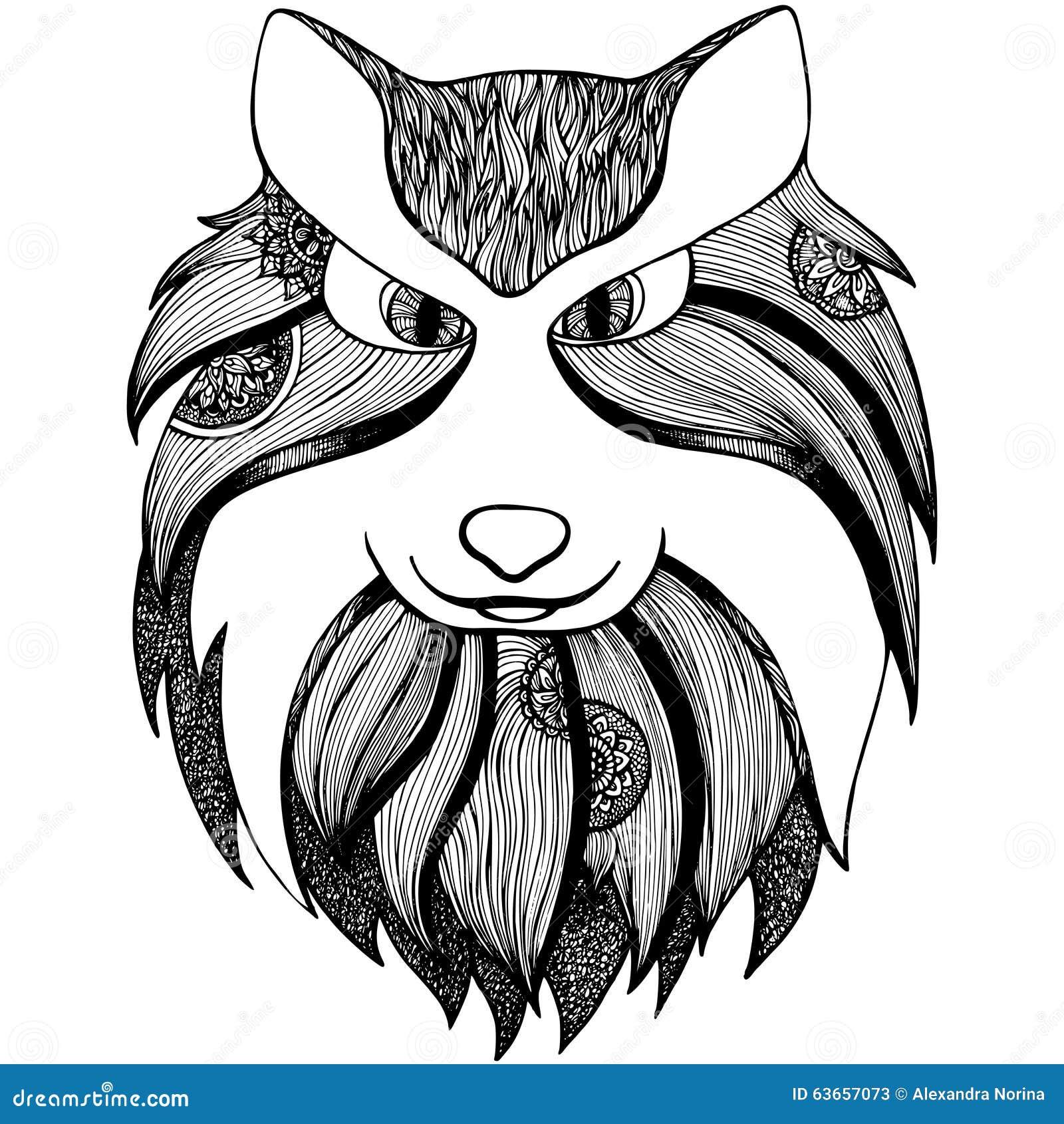 волк Zentangle стилизованный взрослая анти страница