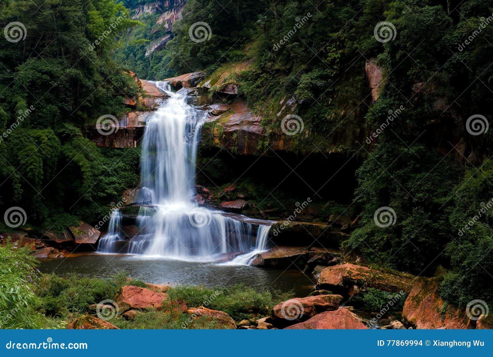 Водопад и поток в лесе