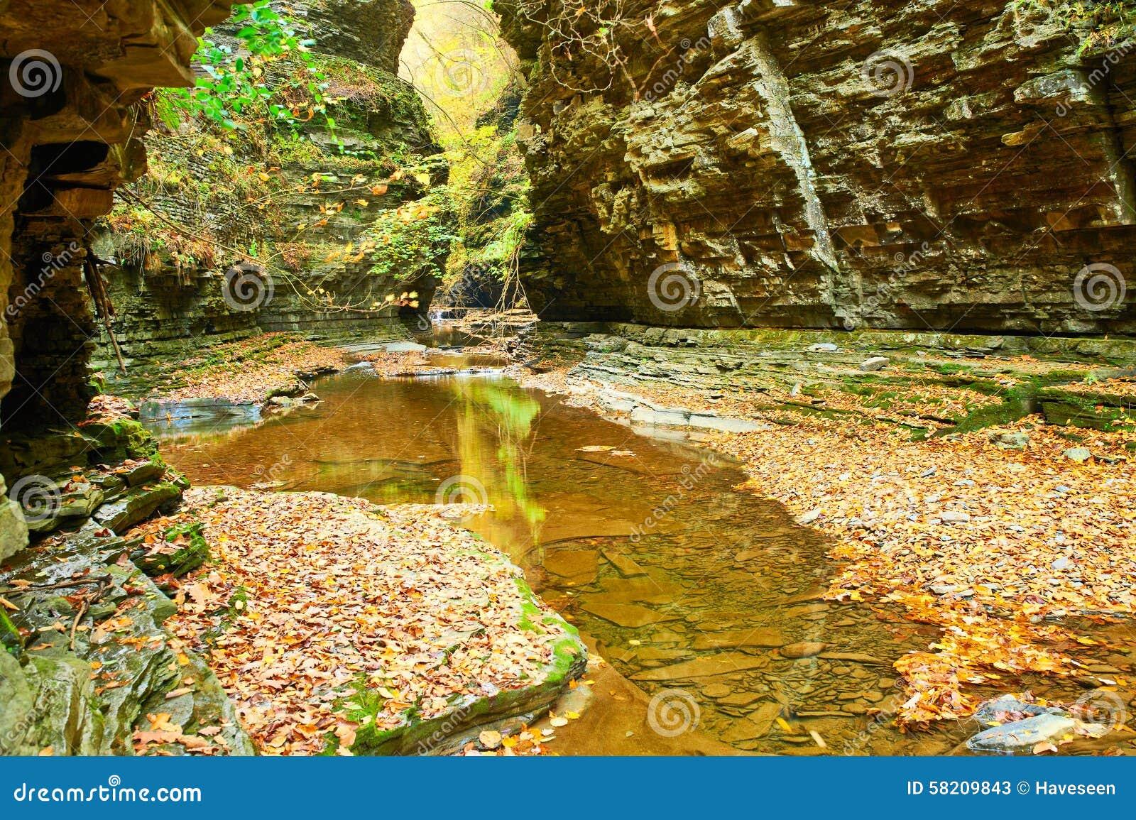 Водопад пещеры на парке штата Watkins Глена