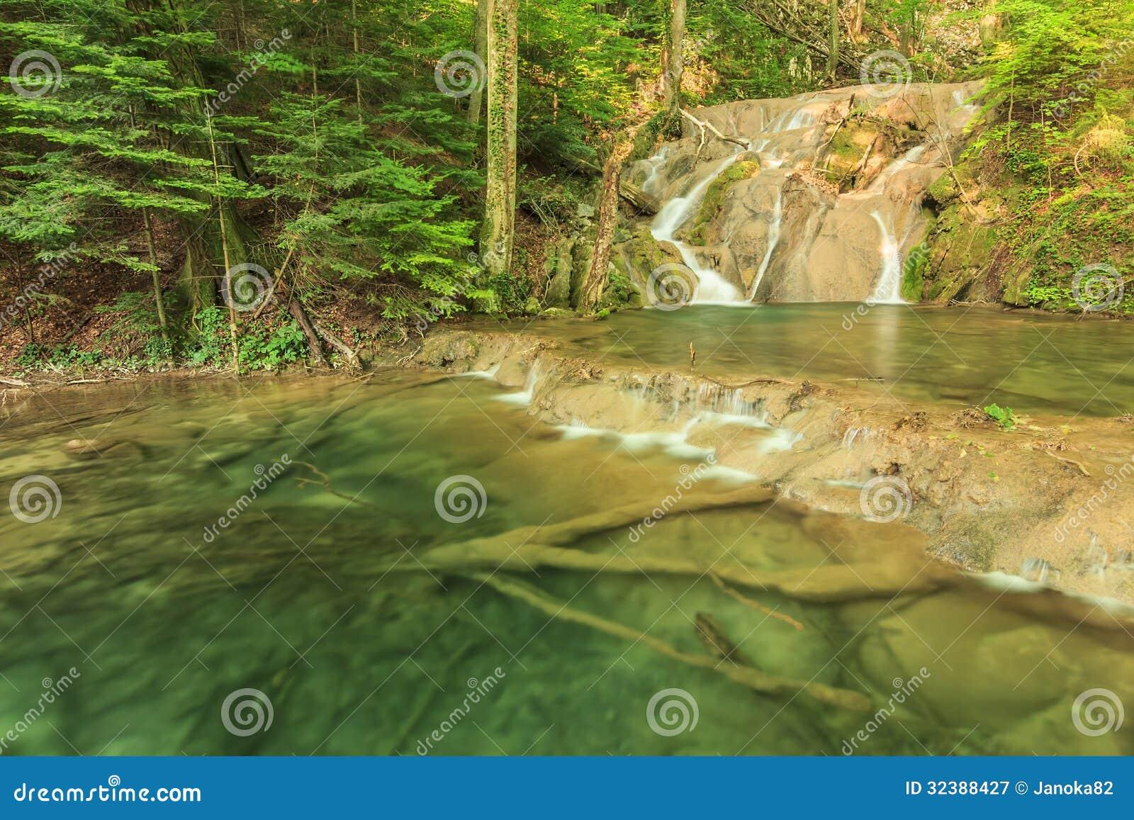 Водопады, каскады и прозрачный залив в лесе, национальном парке Beusnita, Румынии